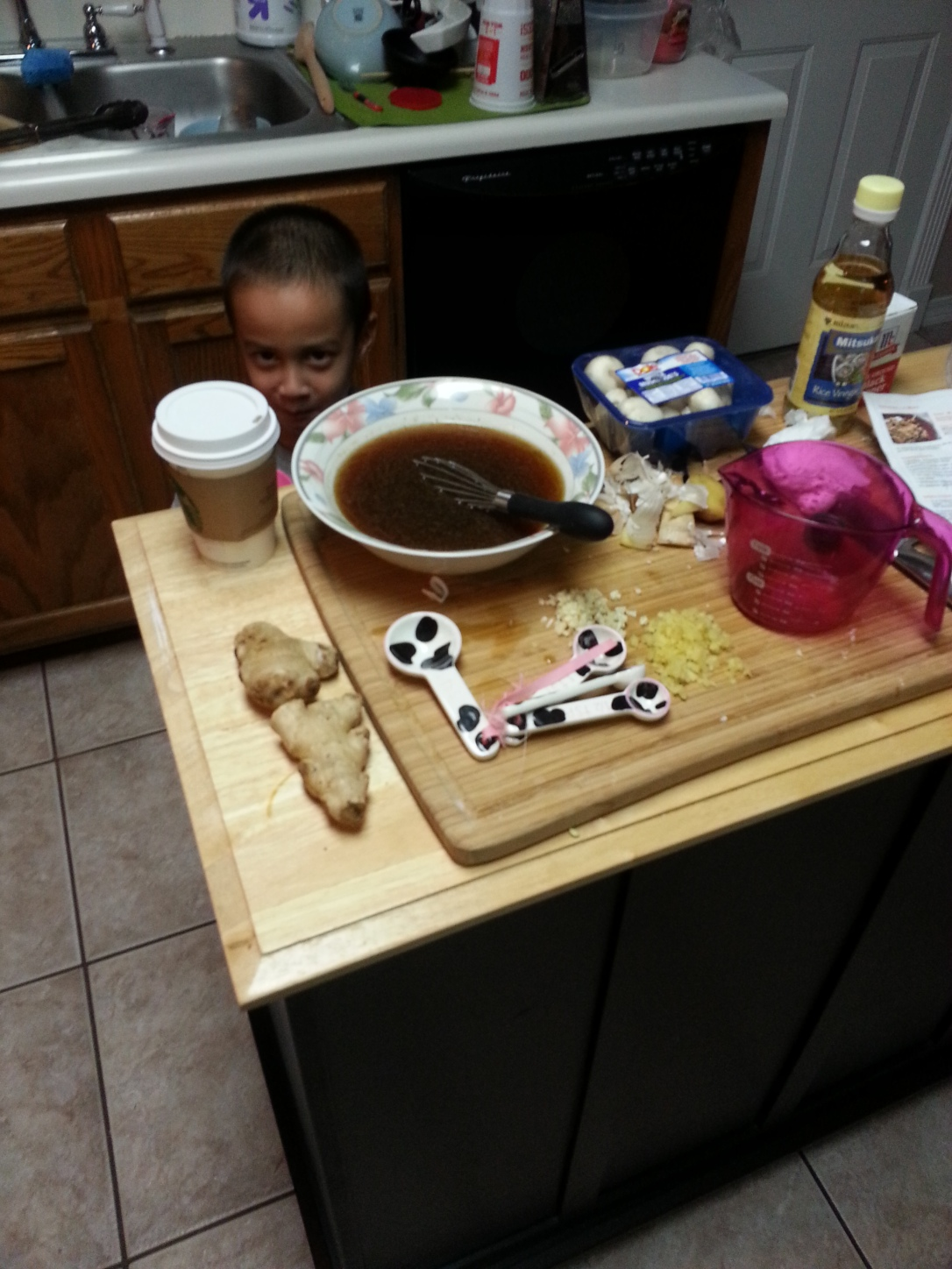 In the kitchen with Mommy!
